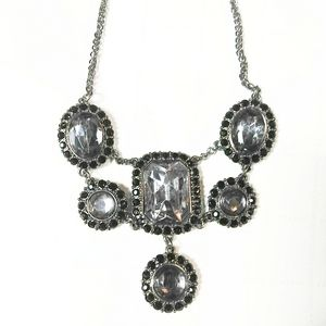 Gunmetal Faceted Stone Bling Statement Necklace